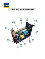 GYSMI 165 / LIST OF SPARE PARTS - Promac