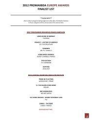 2012 PROMAXBDA EUROPE AWARDS FINALIST LIST