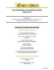 2012 PROMAXBDA LATIN AMERICA AWARDS FINALIST LIST