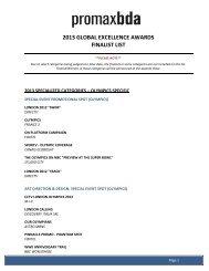 2013 GLOBAL EXCELLENCE AWARDS FINALIST LIST - PromaxBDA
