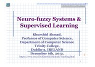 Neuro-fuzzy Systems & Supervised Learning - Trinity College Dublin