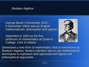 Boolean Algebra George Boole 2 November 1815 – 8 December ...