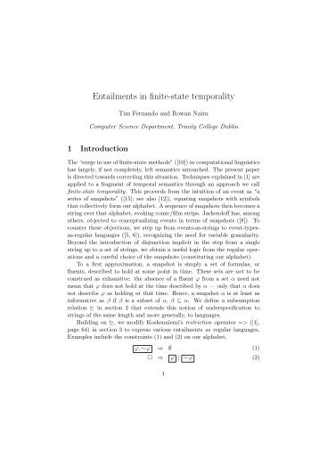 Entailments in finite-state temporality - Trinity College Dublin