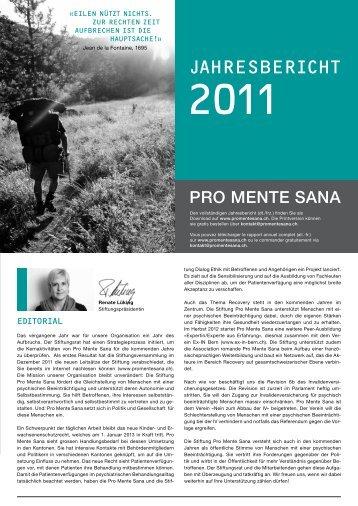 Jahresbericht 2011, Kurzversion (PDF, 323KB) - Pro Mente Sana