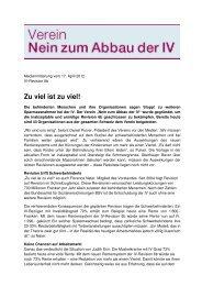"""Medienmitteilung des Vereins """"Nein zum Abbau ... - Pro Mente Sana"""