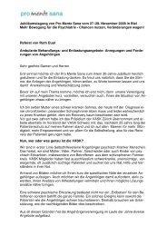 Anregungen und Forderungen von Angehörigen - Pro Mente Sana