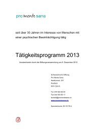 Tätigkeitsprogramm 2013 - Pro Mente Sana