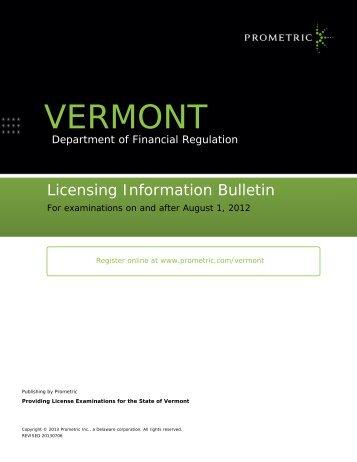 Vermont Insurance Licensing Information Bulletin - Prometric