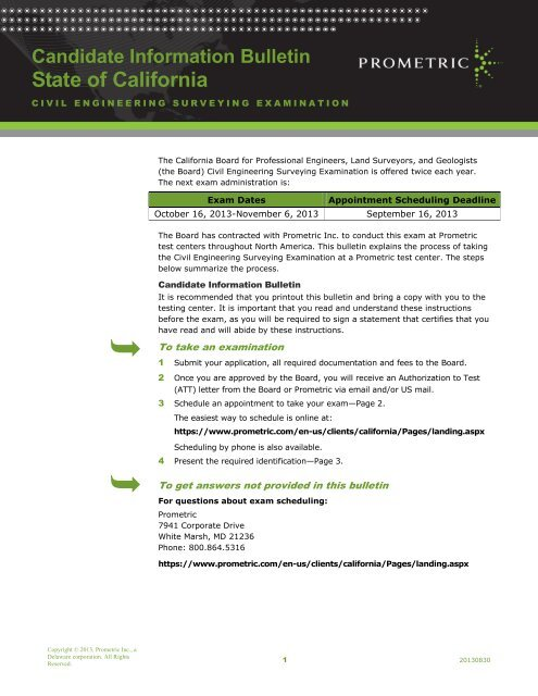 Candidate Information Bulletin State Of California Prometric