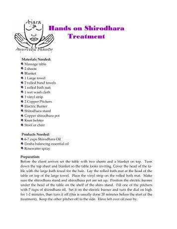 Hands On Shirodhara Treatment - Promolife