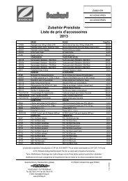 Liste de prix accessoires Zodiac