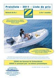 Zodiac Preisliste/Prospekt 201