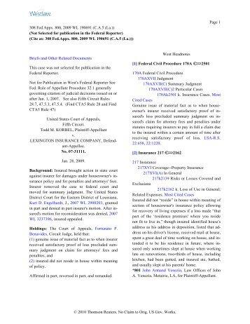 Korbel v. Lexington Ins. Co. - Property Insurance Coverage Law ...