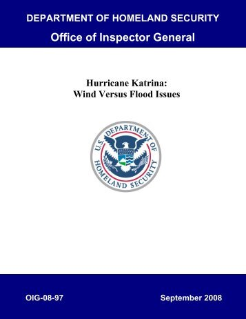 Hurricane Katrina: Wind Versus Flood Issues - Office of Inspector ...