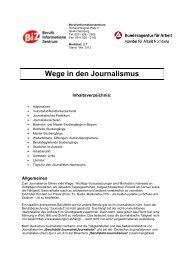 Wege in den Journalismus - Bundesagentur für Arbeit