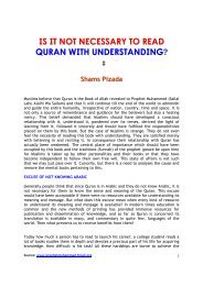 is it not necessary to read quran with understanding