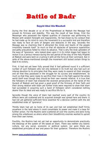 battel of badr - Prophet Muhammad (SAW) for All