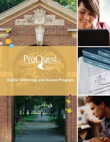ProQuest - Digital Archiving & Access Program | Brochure (PDF)