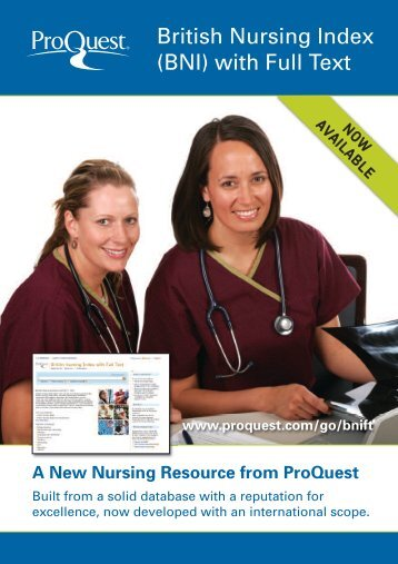 ProQuest - British Nursing Index with Full Text | Brochure (PDF)