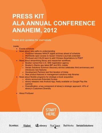ProQuest - ALA Annual 2012 | Press Kit (PDF)
