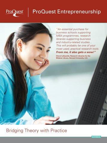 ProQuest - ProQuest Entrepreneurship Brochure (PDF)