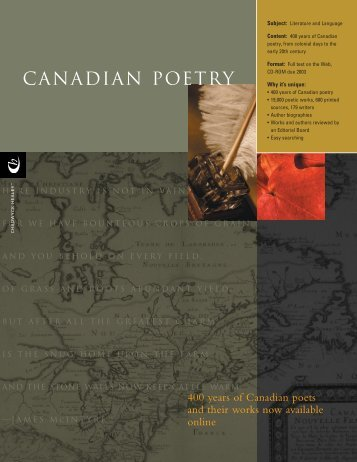 Canadian Poetry Brochure (PDF) - ProQuest