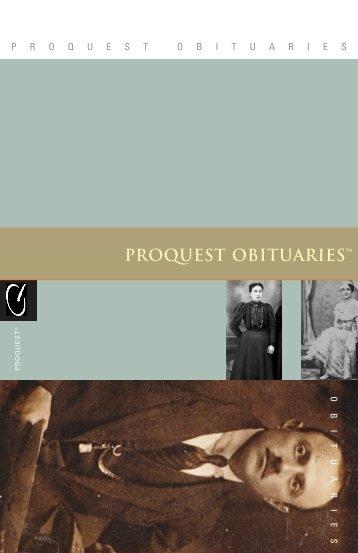 ProQuest - ProQuest Obituaries Brochure (PDF)