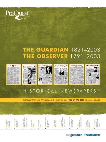 The Guardian and The Observer - ProQuest.com