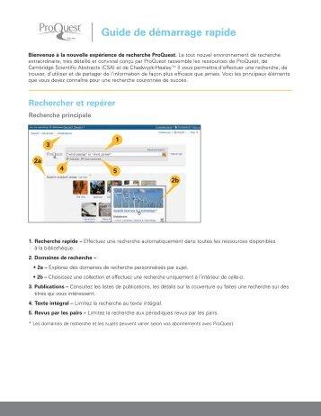 Rechercher et repérer - ProQuest