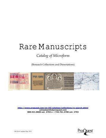 ProQuest - Rare Manuscripts Catalog | Subject Catalog (PDF)