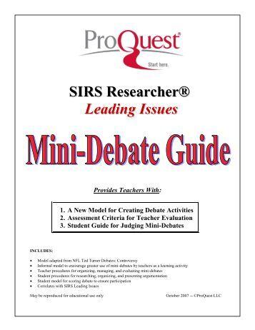 Mini Debate Format   ProQuest. Tennis Debate
