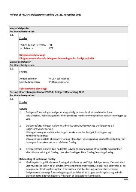 Referat af PROSAs Delegeretforsamling 2010