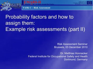 Risk Assessment and probabilities - Prosafe