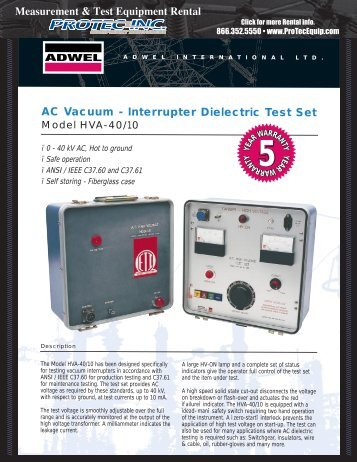 AC Vacuum - Interrupter Dielectric Test Set