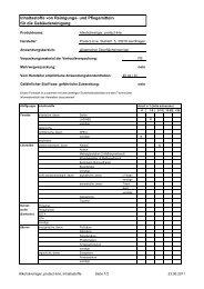Inhaltsstoffe von Reinigungs- und Pflegemitteln für die ... - Protect-Line