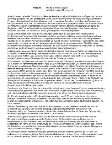 Podium: Ursula Biemann (Regie) Jutta Doberstein (Moderation ...