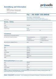 Anmeldung und Information Fax +49 (0)69 3 05-84848 - Provadis