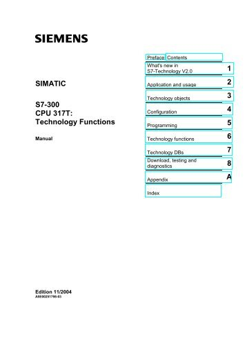 SIMATIC S7-300 CPU 317T: Technology Functions - Jonweb FA