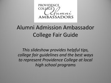 College Fair Training - Providence College