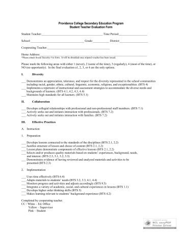 Student Teacher Evaluation Form - Providence College