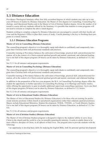 5.5 Dis tance Ed u ca tion - Providence Theological Seminary