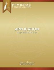 ApplicAtion - Providence Theological Seminary