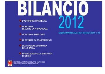 Pubblicazione bilancio it 2012 - Rete Civica dell'Alto Adige