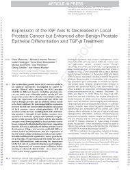 Expression of the IGF Axis Is Decreased in Local Prostate Cancer ...