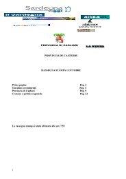 rassegna stampa 1 ottobre - Provincia di Cagliari