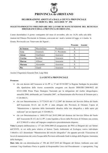 Delibera 294/2010 - Provincia di Oristano