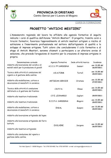 Elenco completo dei corsi - Provincia di Oristano