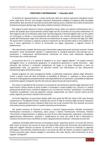 Presentazione progetto - Provincia di Oristano