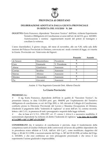 Delibera 268/2010 - Provincia di Oristano