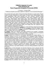 FORUM di Agenda 21 Locale sulle tematiche del Piano Programma ...
